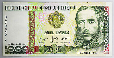 PERU 1000 Intis Banknote World Paper Money UNC Currency Pick p136b Bill Note