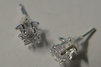 CLEAR PENTACLE STAR STUD EARRINGS 925 SILVER Wicca Witch Pagan Goth PENTAGRAM