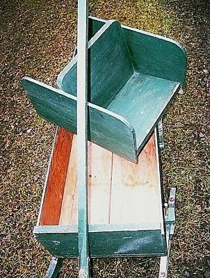 Antique Bob Sled Wagon Childs Wood Sleigh Rustic Pine Iron Porch Display Cart 3