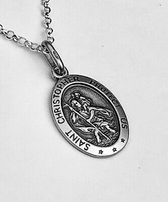 Solid Sterling Silver Oval St Christopher Necklace Pendant UK Supplier Free Box