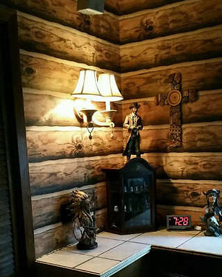 Log Wallpaper! Rustic Cabin Lodge Pre-Pasted Double Roll made in the U.S.A.