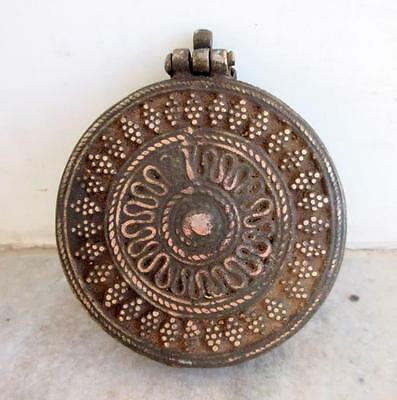 Antique Old Hand Carved Heavy Brass Beautiful Islamic Opium Unique Round Box 4