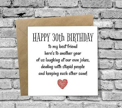 1 Of 3FREE Shipping HAPPY 30th BIRTHDAY CARD FUNNY BEST FRIEND HUSBAND WIFE SON DAUGHTER BOYFRIEND