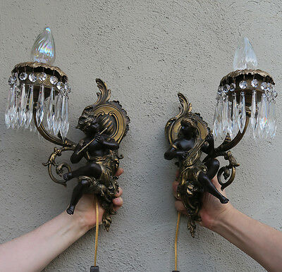 PAIR Blackamoor Spelter Brass sconce musician Shabby French lamp Vintage Antique 3