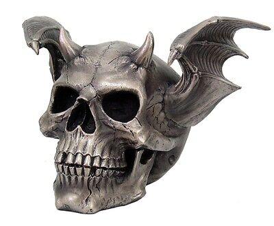 WINGED DEVIL SKULL STATUE SKELETON FIGURINE HORNED DEMON HELL BIKER