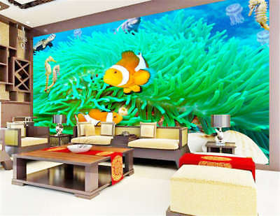 Concise Free Fish 3D Full Wall Mural Photo Wallpaper Printing Home Kids Decor
