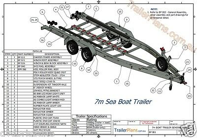 Trailer Plans - BOAT TRAILER PLAN - 7m (21ft) Mono-hull - PLANS ON CD-ROM 8