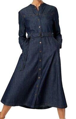 M/&S Ladies Denim Shirt Midi Dress Indigo Added Stretch Cotton Women Belt RRP£55