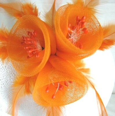 orange fascinator millinery feather brooch clip wedding bridal hair piece ascot 3