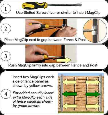 Anti-Rattle Fence Panel Security Clips/Grips Stops Rattling Fences-Magclip Pk 20 2
