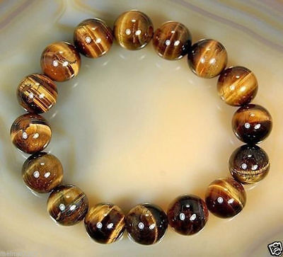 8mm Natural  African Roar Natural Tiger's Eye stone Round Beads bracelet 7.5'' 3