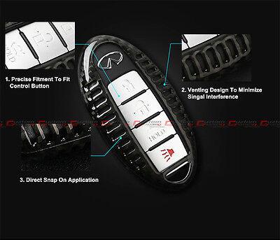 LUXURY REAL CARBON Fiber Snap On Case For Infiniti Q50 Q70 Q60 G37 Smart  Key Fob
