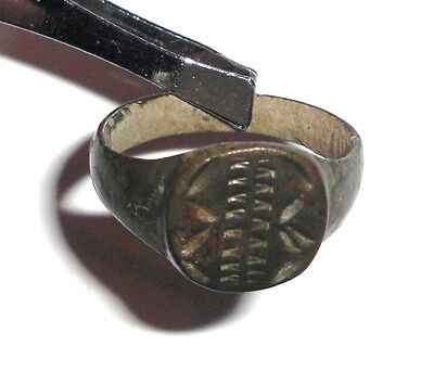 Ancient Byzantine Empire, Bronze Intaglio Signet Ring 2