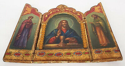 Antique 19th C Russian Hand Painted Wood Icon Triptych (Deesis Row) 4