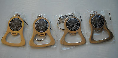 JAGERMEISTER POLISHED METAL BELL-SHAPED BOTTLE OPENERS KEYCHAINS LOT OF 4 NEW!