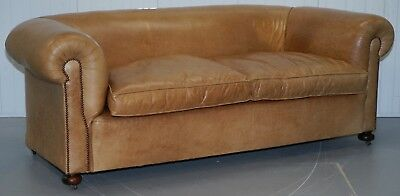 1 Of 2 Vintage Victorian Style Restored Brown Leather Club Sofas Coil Sprung 3