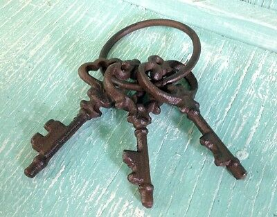 Chamber Skeleton Key Ring Cast Iron Wall Mount Rustic Old Fashioned New Vintage 2