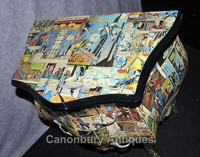 Pair Funky Comic Print Chests of Drawers Deco Commode Bombe 9