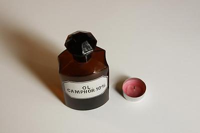 Apothekerflasche, Form selten, OL. CAMPHOR. 10% rund mit 4 Kanten,alt,emailliert
