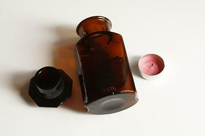 Apothekerflasche, Form selten, CALC. LACTIC. rund mit 4 Kanten, alt, emailliert