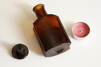 Apothekerflasche, Form selten, INTR. VISCI ALBI rund mit 4 Kanten,alt,emailliert