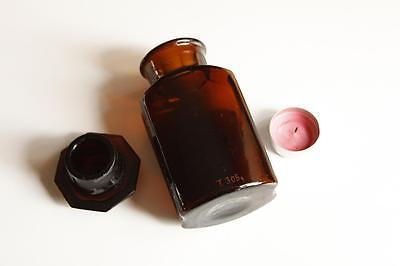 Apothekerflasche, Form selten, LACTOSUM SACCH rund mit 4 Kanten, alt, emailliert