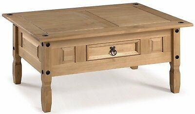 Corona Coffee Table Mexican Solid Pine 1 Drawer Livingroom by Mercers Furniture® 2