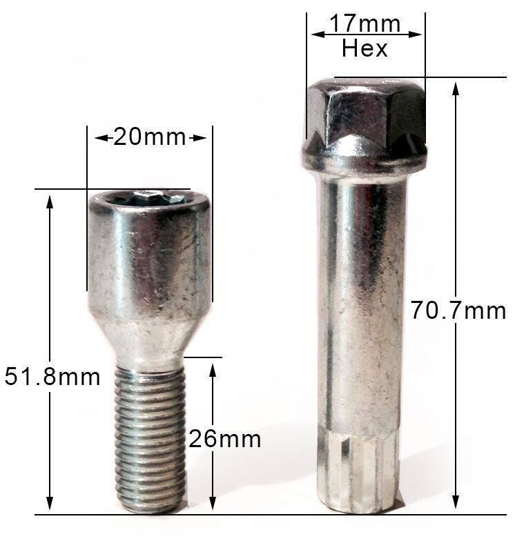 Dadi Ruota Bullone M12/X 1,25/Cono 45/mm