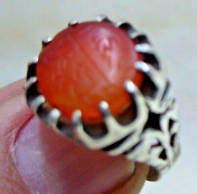 Personal Seal  Stone Antique Islamic Agate Set In Modern Sterling Silver Ring 4