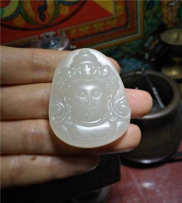 Genuine chinese Hetian jade kwan yin guan quan necklace pendant white nephrite 6