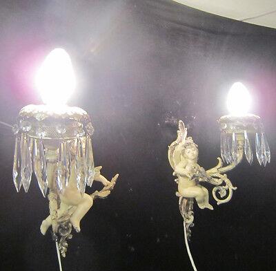 2 Antique French Cherub Spelter lamp Vintage Shabby sconce chic Paris Architectu 3