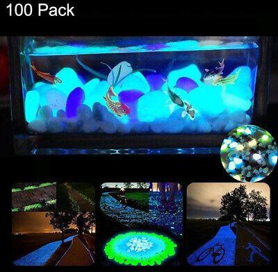 New 100x Glow In The Dark Stones Pebbles Rock Fish Tank Aquarium Garden Walkway 3