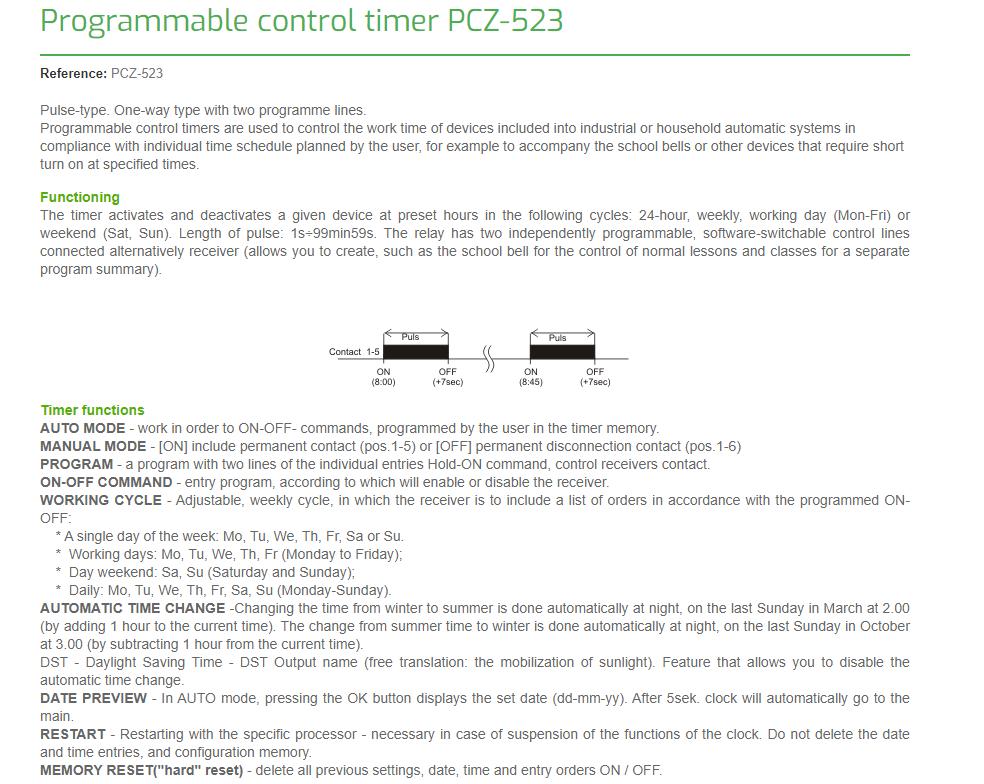 F&F Pcz-523.2 Programmierbare Digitale Zeitschaltuhr 24V ÷ 264V Ac / Dc 16A Ip20 4
