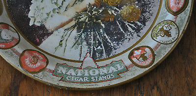 Antique Tin Lithograph Tip Tray National Brands Cigars Woman & Chrysanthemums