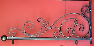 Art Deco Wavy Iron Sign Bracket, Holder, 26 in., by Worthington Forge in USA 9