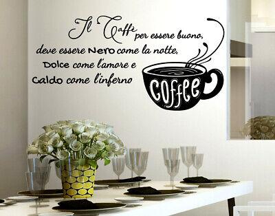 ADESIVI MURALI FRASI cucina caffè wall stickers adesivo da muro per ...