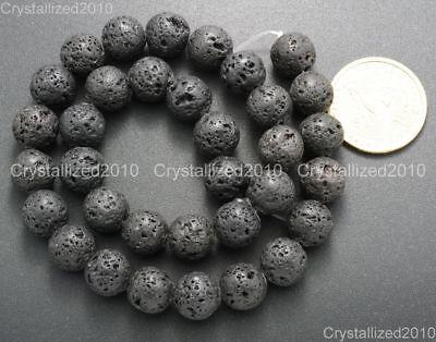 "Natural Black Volcanic Lava Gemstone Round Beads 4mm 6mm 8mm 10mm 12mm 15.5"" 6"