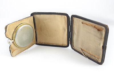 American Elgin 8 Day Travel Clock Keystone case body Gilt silveroid Leather case 7