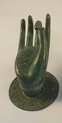 2 Pull handle hand buddha brass door aged green patina old style knob hook 7cm B 5