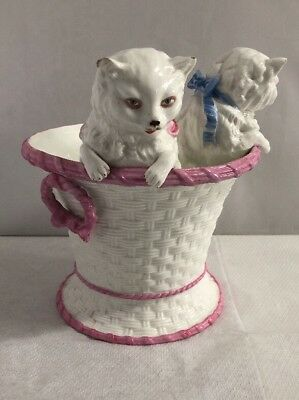 Antique Victorian Large Pair of Cats Kittens in a Basket Rare German Original 2