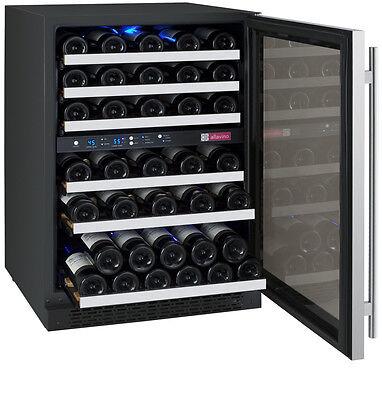 Allavino 56 Bottle Built-In Wine Cooler Refrigerator Stainless Steel Dual Zone 2