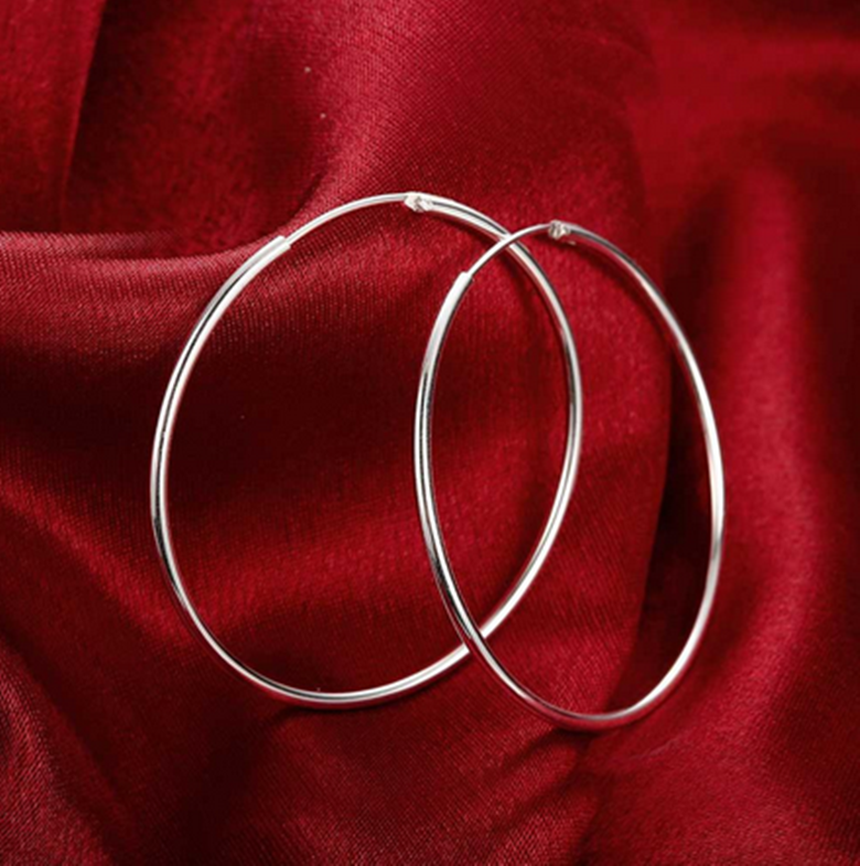 Womens 925 Sterling Silver Classic Large Round Vogue Hoop Fashion Earrings #E63