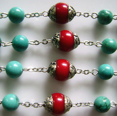 Natural Turquoise & Coral beads Lourdes Water Rosary Cross crucifix Necklace 5