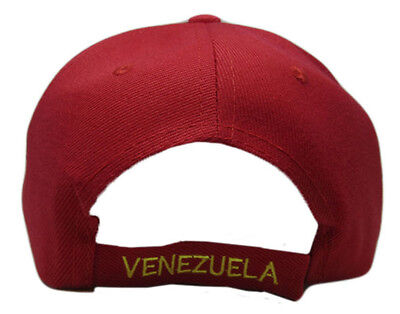 Venezuela Country Letters Emblem Red With Blue Bill 3-D Embroidered Cap Hat 4