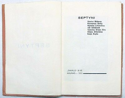 "AVANT-GARDE Cover POETRY Collection ""SEPTYNI"" K. ZUPKA Autograph LITHUANIA 1930 4"