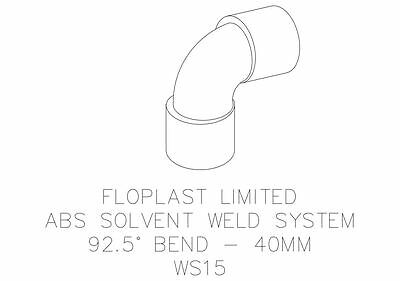 "87.5 FLOPLAST 40mm 1.1//2/"" WHITE 92.5º DEGREE BEND ELBOW ABS SOLVENT WASTE WELD"