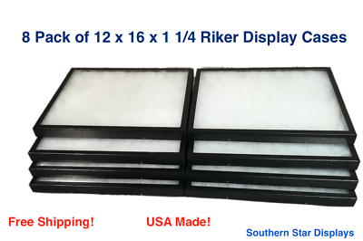 8 Pack of Riker Display Cases 12 x 16 x 1 1/4 for Collectibles Jewelry & More