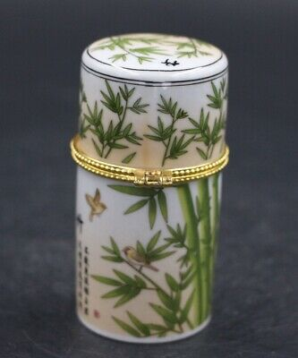 Chinese Porcelain bamboo Toothpick Box Holder Storage Lucky Jewelry Box 3