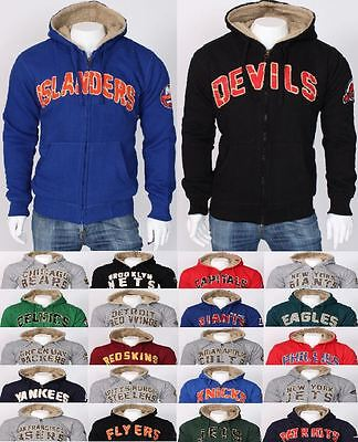NHL NFL Winter Casual Hoodie Sherpa Lined Jacket Fur Sweatshirt Plus Sizes UK 2