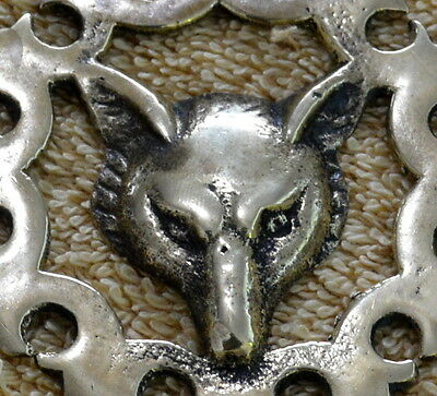 Antique Door Knocker Brass Fox / Wolf Design Collectible 2